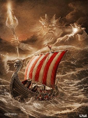 Анимация Драккар с викингами плывет по морю в шторм, который посылает бог морской стихии Ньерд