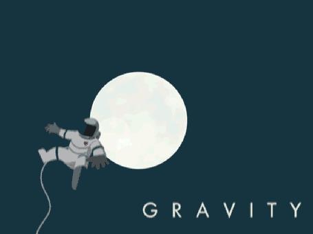 Анимация Космонавт парит в космосе над орбитальной станцией, вдали видна огромная Луна (Gravity / Гравитация)