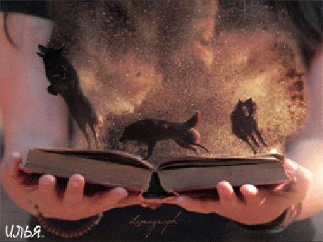 Анимация Ожившая книга с волками в руках