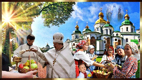 Анимация У церкви святят яблоки на Преображение Господне