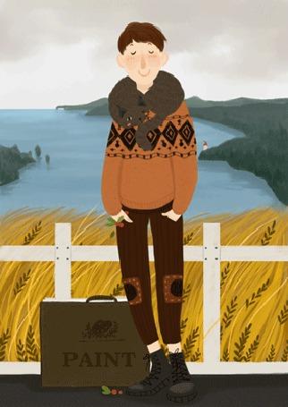 Анимация Парень с кошкой на шее стоит на мосту (PAINT / Краска)