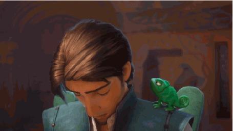 Анимация Флинн Райдер / Flynn Rider и хамелеон Паскаль / Pascal, персонажи мультфильма Рапунцель: Запутанная история / Tangled