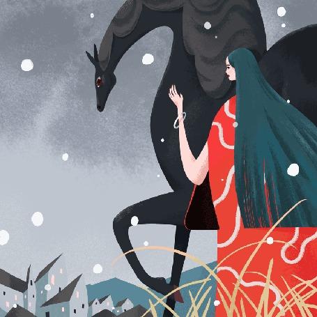 Анимация Девушка с лошадью стоит под падающим снегом, иллюстратор Ким Солт