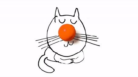 Анимация Нарисованный кот перебирает лапками