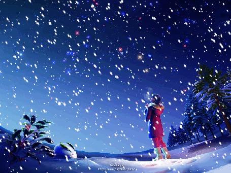 Анимация Девушка под снегопадом, фантастические работы Ютака Кагайя / Yutaka Kagaya