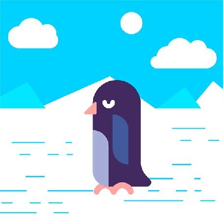 Анимация Пингвин прогуливается по льду, иногда пытаясь взлететь
