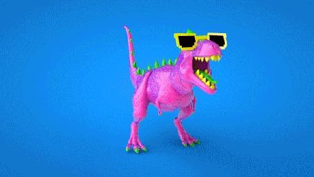 Анимация Динозавр в солнечных очках