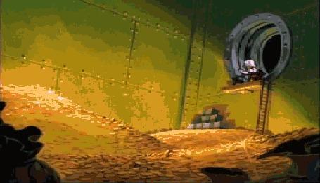 Анимация Скрудж Макдак купается в золоте, мультсериал Ducktail Remastered / Утиные Истории
