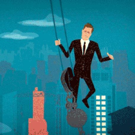 Анимация Мужчина висит на крюке подъемного крана над небоскребами