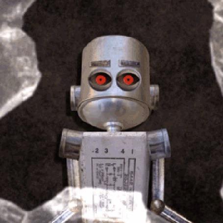 Анимация Смешной робот эмоционально выражает свои чувства