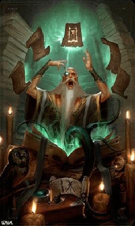 Анимация Появляющийся из книги волшебник, с щупальцами вместо ног, читает заклятие на летающих листах, среди книг и свечей