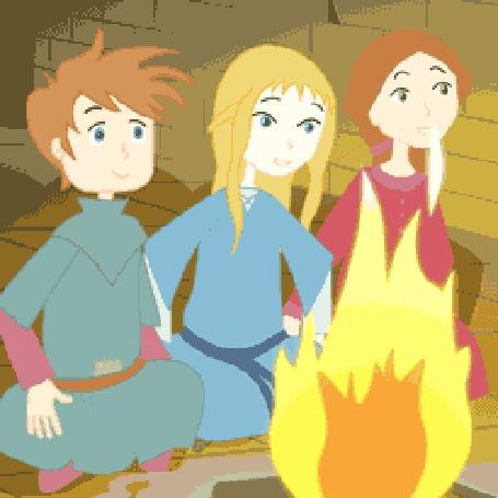 Анимация Трое детей сидят перед костром