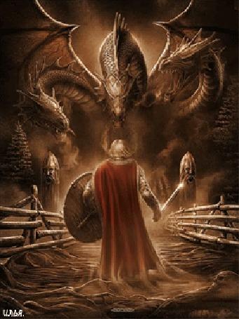 Анимация Воин с мечом в руке и щитом, стоит напротив трехглавого дракона