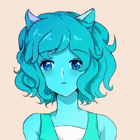 Анимация Голубая девушка-нэко, by Yushikuni