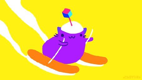 Анимация Кот спускается с горы на лыжах, by Cindy Suen