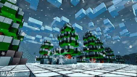 Анимация Зимний пейзаж в стиле Minecraft