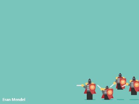 Анимация Сверху рыцарей поливают горючей смесью из баллончика, by Eran Mendel / Эран Мендель