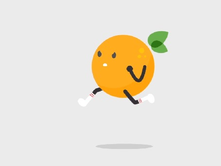 Анимация Бегущий апельсин на белом фоне