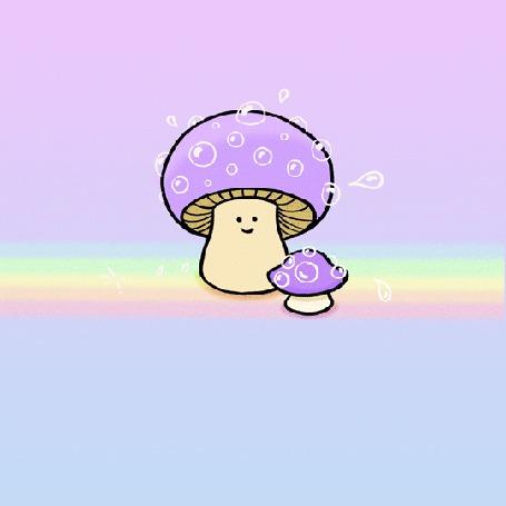 Анимация Маленький и большой гриб распускают пузыри
