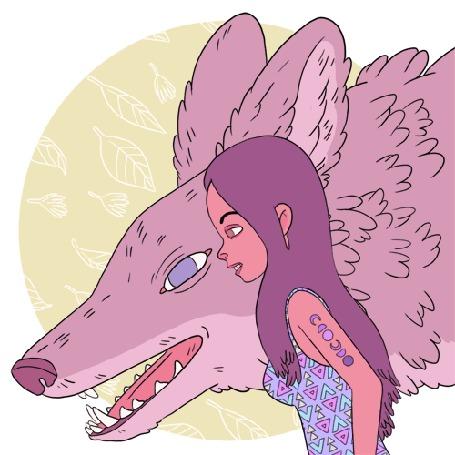 Анимация Девушка стоит рядом с волком