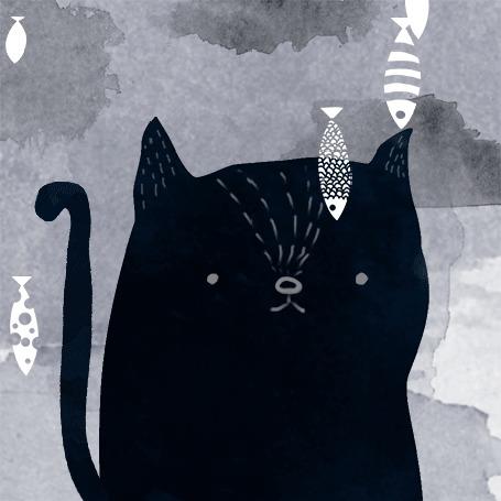 Анимация Черный кот под дождем из рыбы