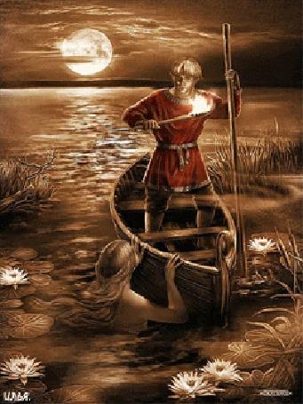 Анимация Лунной ночью лодочник с факелом в руке, стоит в лодке, посреди пруда и смотрит на русалку