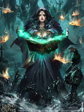 Анимация Ведьма стоит на кладбище, колдует над книгой и вызывает мертвых. Игра Legend Of The Cryptids
