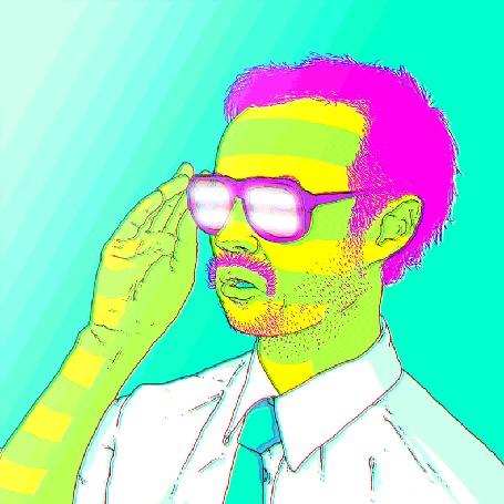 Анимация Мужчина с усами в очках переливается