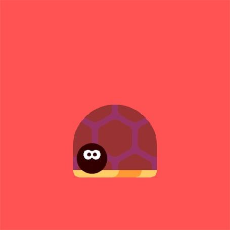 Анимация Прикольная черепаха на красном фоне