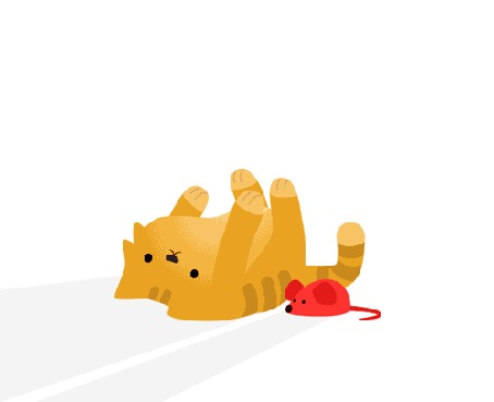 Анимация Рука ласкает лежащего кота