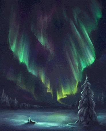 Анимация Северное сияние на небе