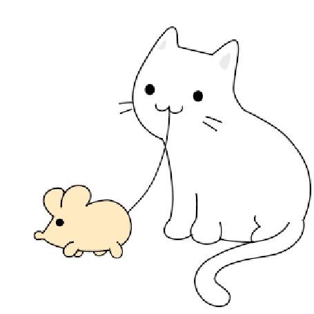 Анимация Кот играет с мышкой, by Denis Sazhin