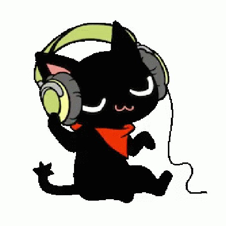Анимация Кот в наушниках слушает музыку