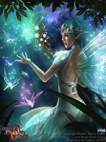 Анимация Лесная фея сидит в зарослях под деревьями около воды и держит в правой руке волшебный жезл и колдует им, игра Outcast Odyssey