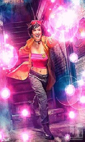 Анимация Девушка в оранжевом плаще спускается вниз по лестнице и творит магию