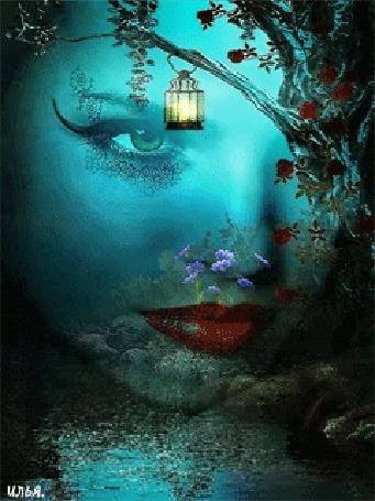 Анимация Лицо девушки на фоне воды, природы и дерева, на ветке которого висит керосиновая лампа