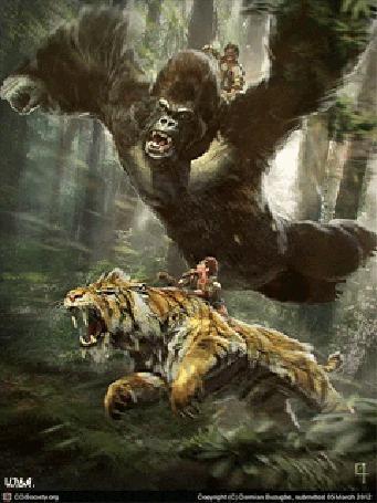 Анимация В лесной чаще, девушка сидящая верхом на тигре, убегает от преследующего их мужчины, сидящего верхом на горилле