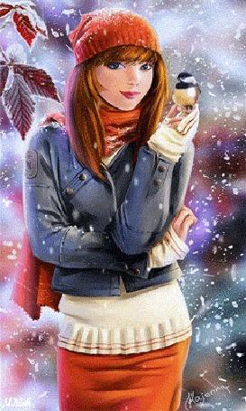 Анимация Очаровательная девушка стоит под снегом и удерживает на пальце левой руки снегиря. Картинка автора Kajenna