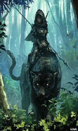 Анимация В глубоких лесных джунглях, амазонка вооруженная мечом и копьем, которое она держит в левой руке, едет верхом на черной пантере