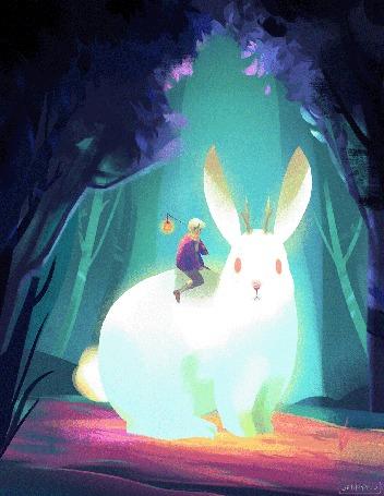 Анимация Мальчик сидит на огромном кролике, у которого появляются рога оленя, by Jenny Yuu