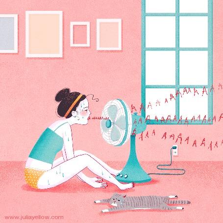 Анимация Девушка кричит ААААААААААА в работающий вентилятор, который разносит звуки по комнате, by Julia Yellow