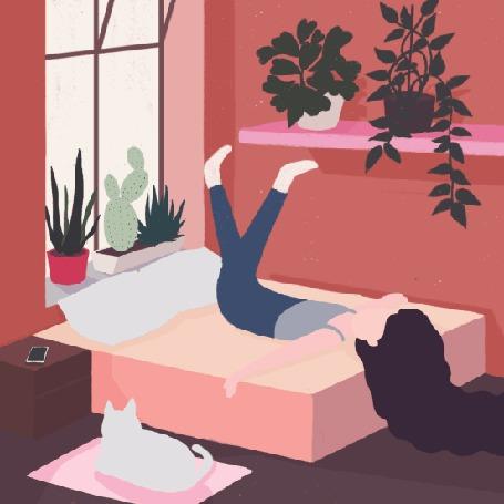 Анимация Девушка лежит на кровати и болтает ногами, by Dora Vincze