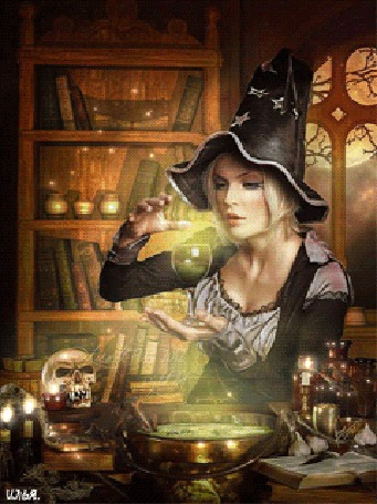 Анимация Волшебница в черной шляпе держит в левой руке бокал с какой-то жидкостью и колдует над ним