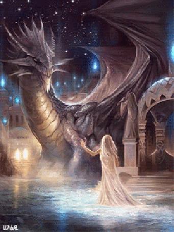 Анимация Девочка в белом платье находящаяся в воде и дракон рядом стоящий с ней стоят на фоне города