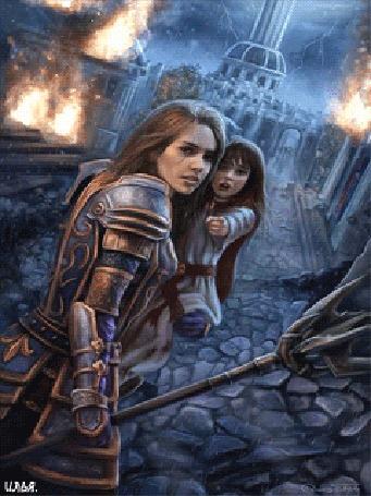 Анимация Воительница с трезубцом в правой руке находящаяся под дождем, спасает девочку, держа ее левой рукой от городского пожара