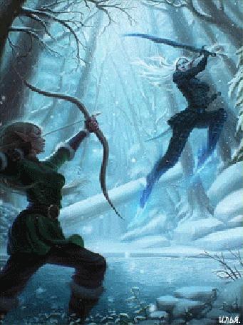 Анимация Две эльфийки сражаются между собой под снегопадом в зимнем лесу у озера