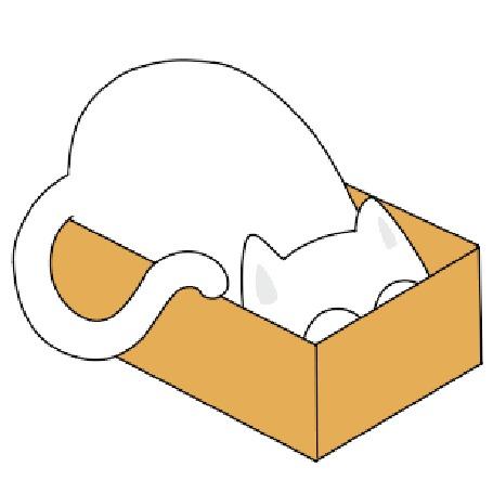 Анимация Котик прячется в коробке, by Denis Sazhin