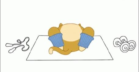 Анимация Кот качает пресс