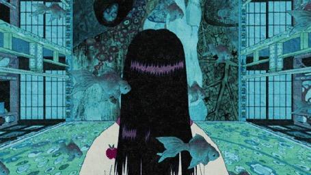 Анимация Мимо девушки с длинными темными волосами проплывают рыбы, кадры из аниме Мононокэ / Mononoke
