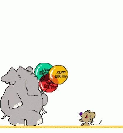 Анимация Мышь получает от слоника шары с надписью Happy Birthday / С днем рождения и улетает в небо